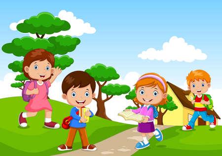 Cartoon of a children going to school