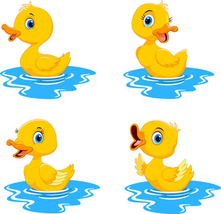 Illustration of cute duck collection set