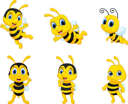 Illustration of cute cartoon bee collection set