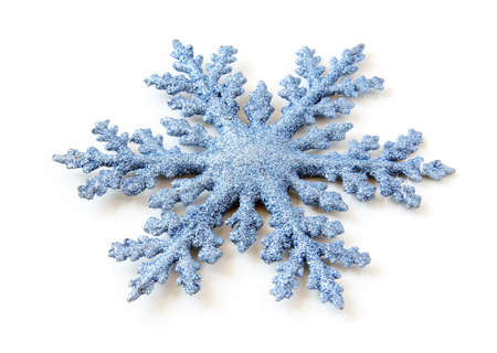 New Year blue snowflake on white background.