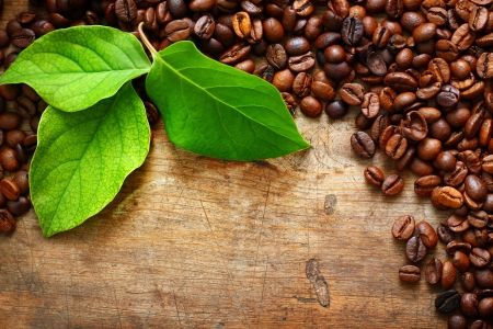 Coffee on wooden background with green leaves photo