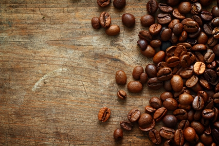 Coffee on grunge wooden background Stock Photo - 16776465
