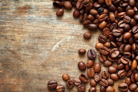 Coffee on grunge wooden background Stock Photo - 16776469
