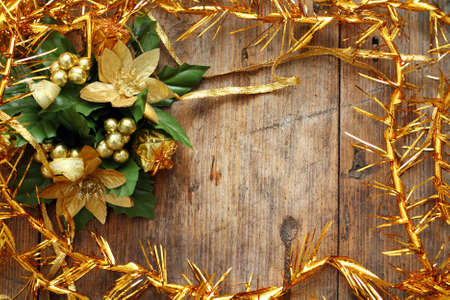 Christmas background with decorations on wooden table Stock Photo - 16776456