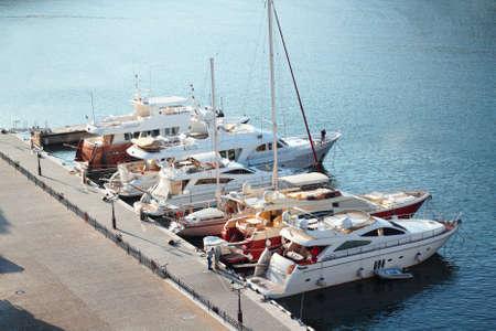 Modern yachts at sea port Stock Photo - 16776436