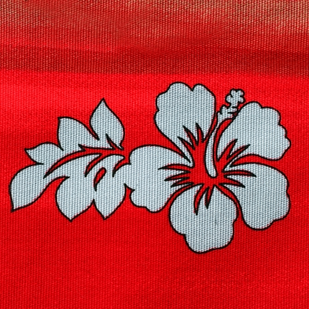 Floral pattern on red fabric Stock Photo - 16776475