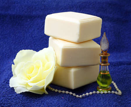 Pieces of natural soap with oil and rose