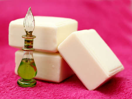 Pieces of white natural soap with oil photo