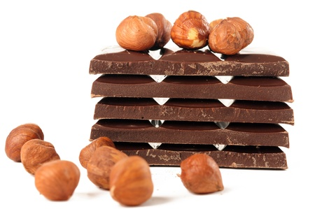Chocolate with nuts on white background