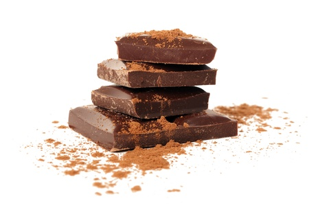 Chocolate with cacao on white background