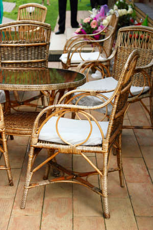 cane chair: Wicker furniture Stock Photo