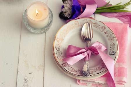 wedding table decor: Empty plate on wooden background Stock Photo