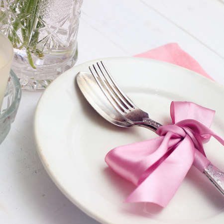 Empty plate on wooden background Stock Photo