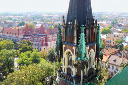Top view from the top of Church of St. Olha and Elizabeth, Lviv, Ukraine Stock Photo