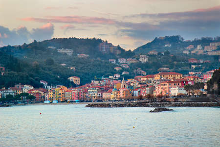 Ligurian coast of Italy. View of Lerici with different multi colored houses.