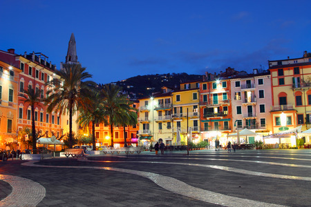 LERICI, ITALY - JUNUARY 6, 2015: central square in the night in Lerici, Italy. Lerici is located in Liguria, many people come to visit it castle, bay, and harbour. Editorial