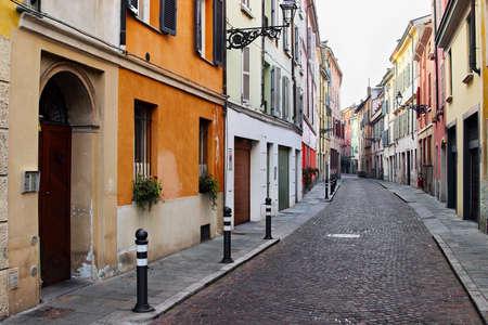 Historical street in Italian city, Parma, Italy Stock Photo