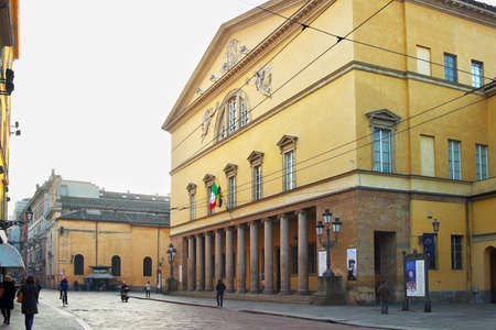 PARMA, ITALY - JANUARY 08, 2015: Exterior pf the Teatro Regio. It is an opera house and opera company in Parma, Italy.