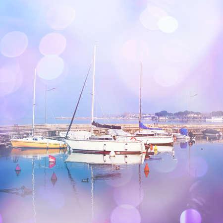 multiple exposure: Yacht al porto. Effetto esposizione multipla applicato. Archivio Fotografico