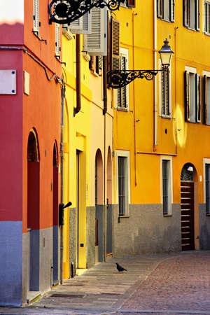 Street turning in Italian city, Parma, Italy Stock Photo