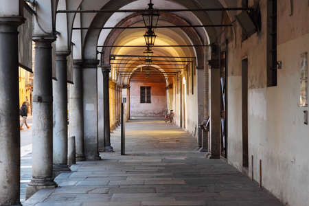 medieval medicine: Colonnade in old historical hospital in Parma, Italy Editorial