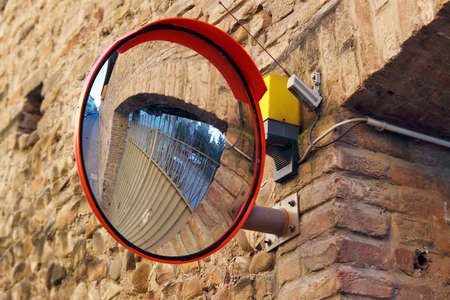 convex: Side mirror on the wall for transport safety