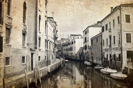passe: Narrow canal in Venice, Italy. Old photo effect was applied. Stock Photo