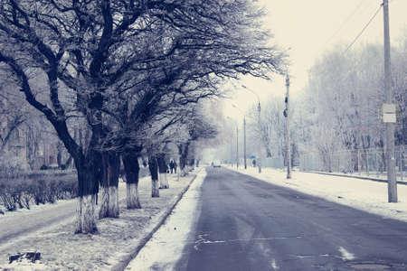 City street in snowy winter