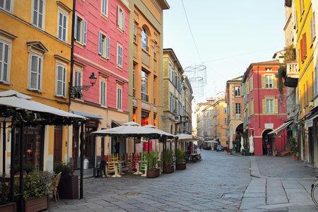 PARMA, ITALY - DECEMBER 25, 2014: Luigi Carlo Farini street in historical center of Parma, Italy.