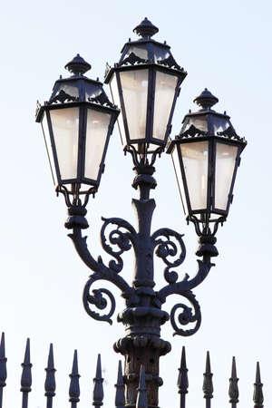 Street lantern with three lamps, Italy