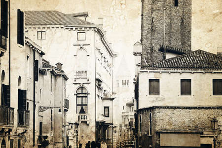 applied: Venice architecture. Old photo effect applied.