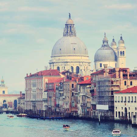 Basilica Santa Maria della Salute and Grand Canal at Venice, Italy Stock Photo