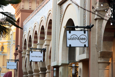 FIDENZA, ITALY - JANUARY 3, 2015: Brand stores in Fidenza outlet village, Italy on January 3, 2015. Editorial