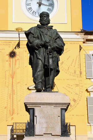 garibaldi: Giuseppe Garibaldi statue in front of Goverment Palace, Parma, Italy. Stock Photo