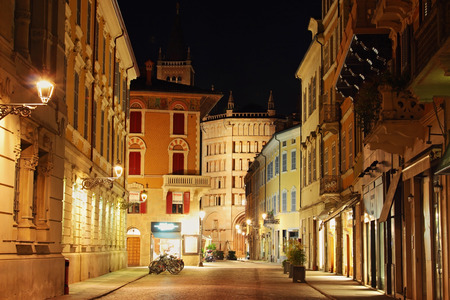 PARMA, ITALY - AUGUST 05, 2015: Old streets in the night in Pama, Italy.