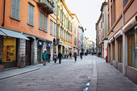 emilia: REGGIO EMILIA, ITALY - JANUARY 01, 2015: Streets in old Reggio Emilia city in Emilia Romagna region, Italy.