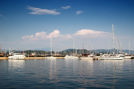 watercraft: LA SPEZIA, ITALY - AUGUST 08, 2015: View of yacht club in a port of La Spezia, Liguria province, Italy. Summertime.