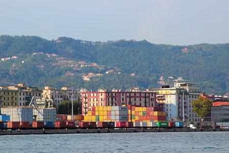 spezia: LA SPEZIA, ITALY - AUGUST 08, 2015: View of the industrial port in La Spezia town, Liguria region, Italy.