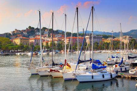 spezia: LA SPEZIA, ITALY - AUGUST 08, 2015: Sailing boats in the harbor in La Spezia, Italy. Summertime leisure. Editorial