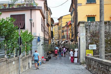 sarzana: SARZANA, ITALY - AUGUST 10, 2015: People walking at streets in Sarzana, Italy. Editorial