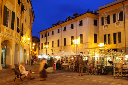 sarzana: SARZANA, ITALY - AUGUST 10, 2015: Night streets in old town of Sarzana, Italy. Festival of antique objects. Editorial