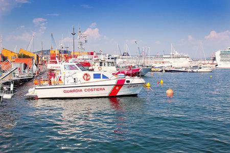 spezia: LA SPEZIA, ITALY - AUGUST 08, 2015: Coast guard ship in La Spezia pot, Liguria province, Italy. Editorial