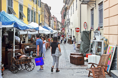 sarzana: SARZANA, ITALY - AUGUST 10, 2015: Fair of antique objects at the streets in Sarzana, Italy. The festival takes place every year.