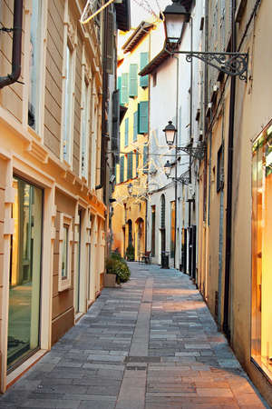 reggio emilia: Street in old historic town, Reggio Emilia, Italy. Editorial