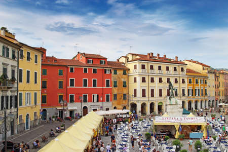 sarzana: SARZANA, ITALY - AUGUST 10, 2015: Festival of Italian traditional cuisine at the central square - Piazza Giacomo Matteotti in Sarzana, Italy. Local food is popular among tourists. Editorial