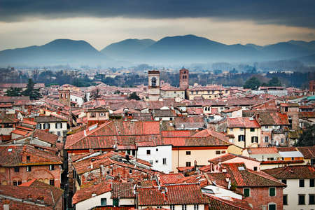 Old town and mountains, Lucca, Italy. View from high tower. Buildings with red roofs.