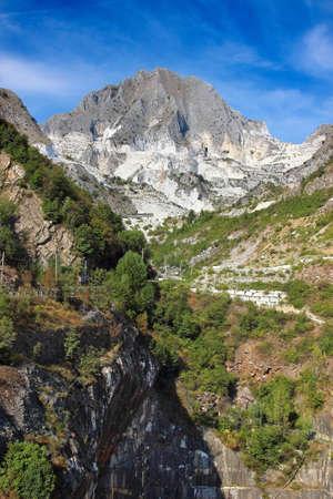 quarries: High mountain and white marble quarries near Carrara, Tuscany region, Italy. Famous Carrara marble. Stock Photo