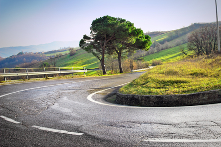 apennines: Winding road with hairpin bend in the Apennines mountains, Italy.