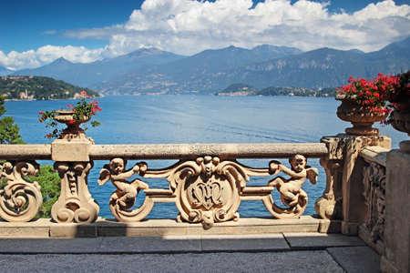 on lake: View of classic terrace in the park of villa Balbianello, Como lake, Italy.