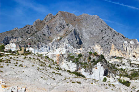 tuscana: High stone mountain and marble quarries in the Apennines in Tuscana region, Carrara, Italy. Open marble mining.